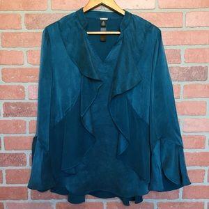 Chico's 2 black label silk blouse ruffled L (V56)